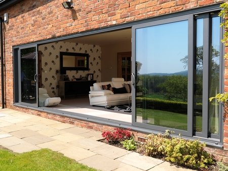 Visoglide aluminium sliding patio doors triple track for Panel tracks for patio doors