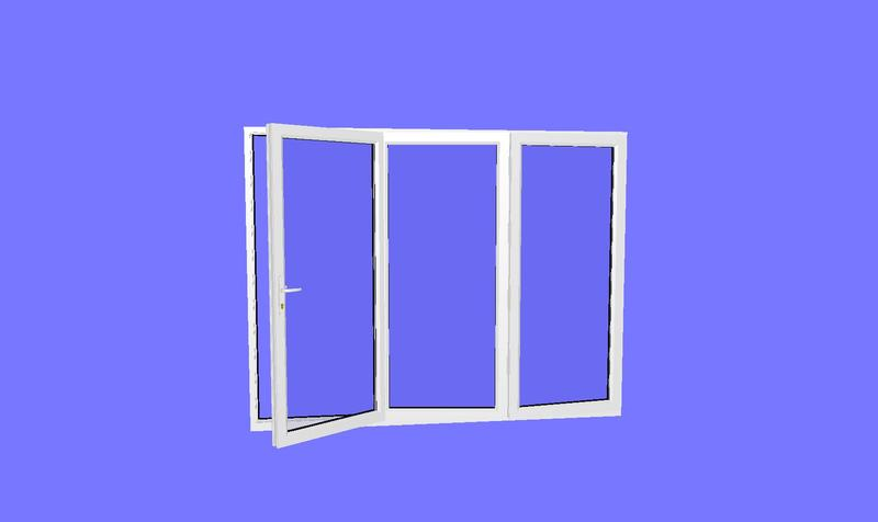 1790 x 2090 3 panel white upvc bifold door for Upvc french doors 1790 x 2090mm