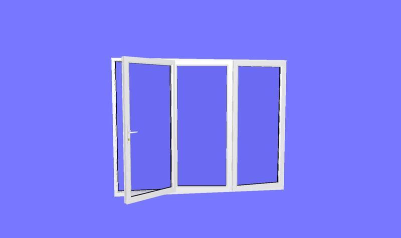 2390 x 2090 3 panel white upvc bifold door for Upvc french doors 1190 x 2090
