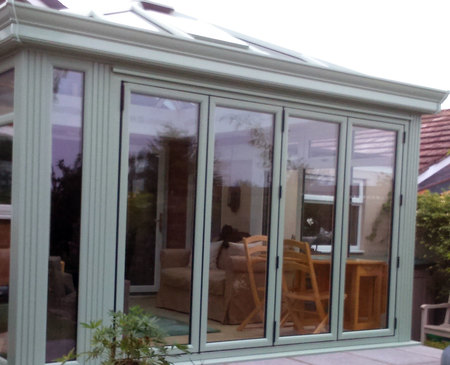 Chartwell green 4 panel upvc bifold door