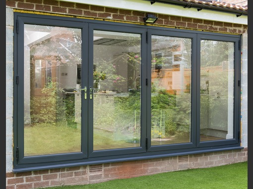 3490 x 2090mm Veka Imagine Wood Grain 4 Panel uPVC Bifold Door