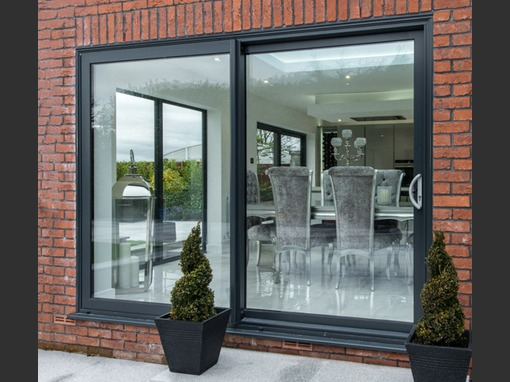 2390 x 2090mm 2 Pane Sliding Aluminium Patio Door