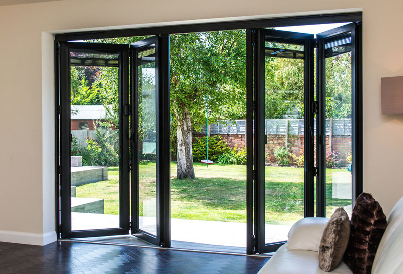 Black Accordion Doors : Grey aluminium bi fold door folding doors u