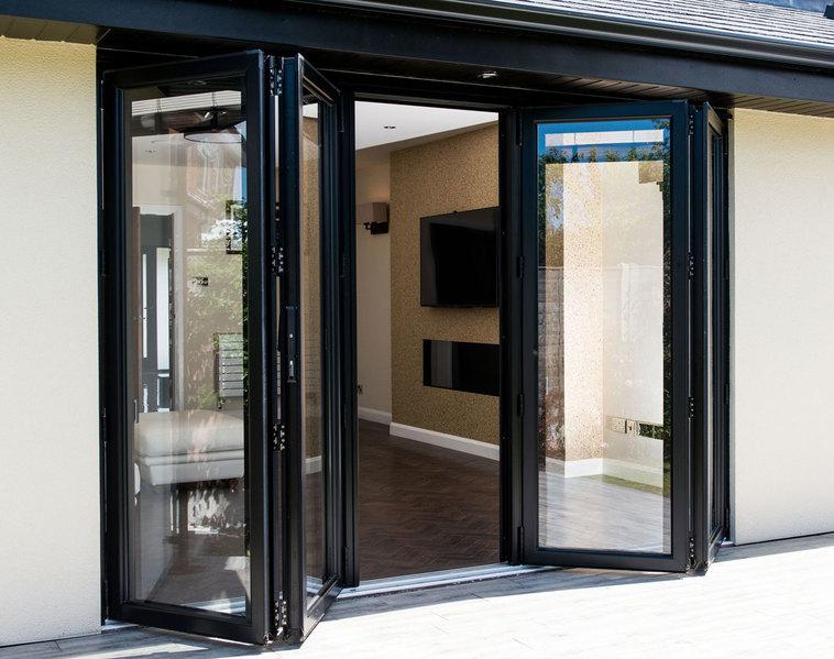 3990x2090 grey aluminium bi fold door folding doors 2 u for Upvc french doors 1190 x 2090