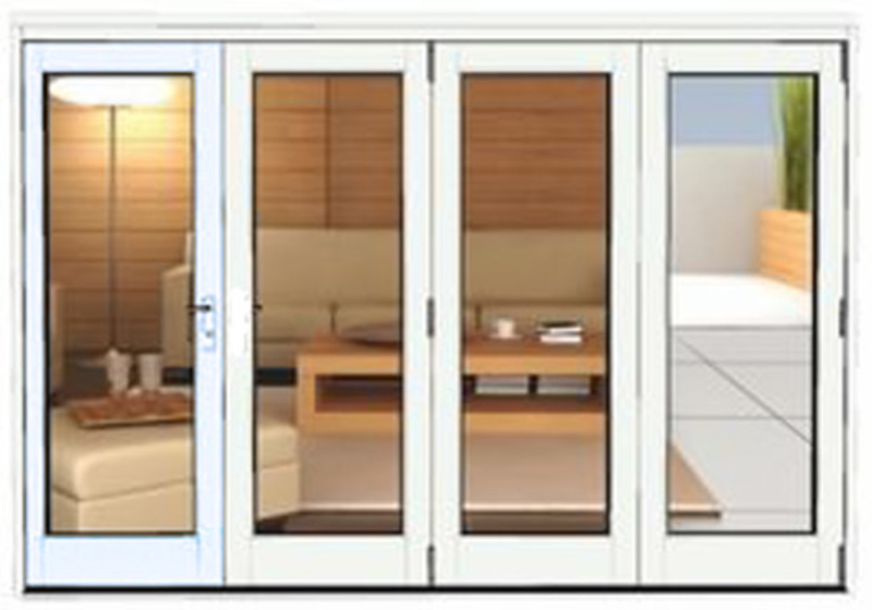 3990 X 2090 White Aluminium Bi Folds Folding Doors 2 U