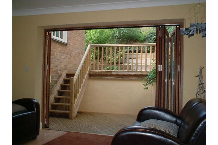 open timber bi-folds