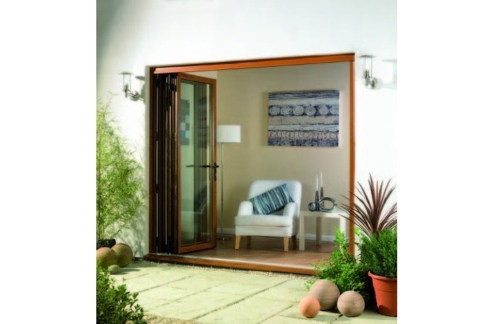 Stylish wooden frame open bi-folds.