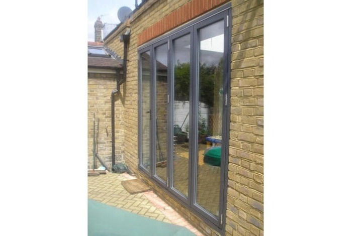 bi-fold doors with a black finish