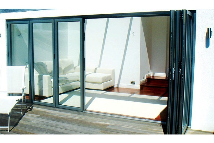 6 panel green vanished bi-fold doors