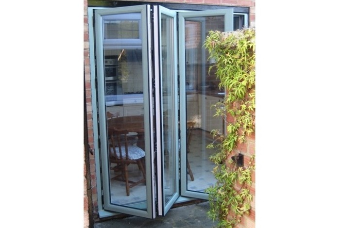 Chartwell light green on white bifold door