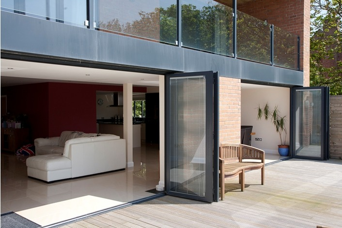 2 sets of black Visofold aluminium folding doors